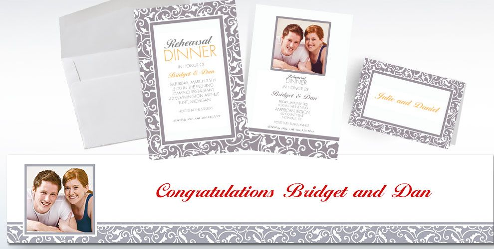 Silver Custom Wedding Invitations & Banners