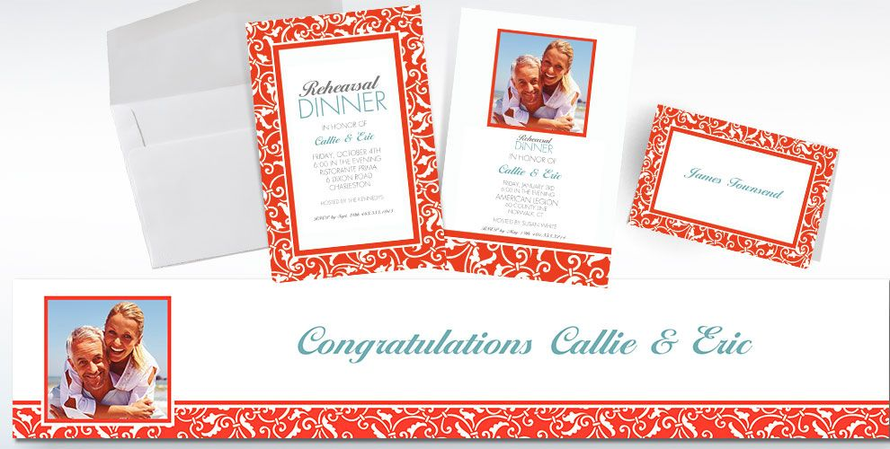 Orange Custom Wedding Invitations & Banners