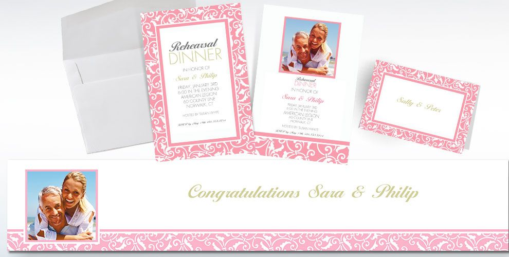 Pink Custom Wedding Invitations & Banners