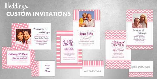 Pink Wedding Custom Invitations and Banners #1