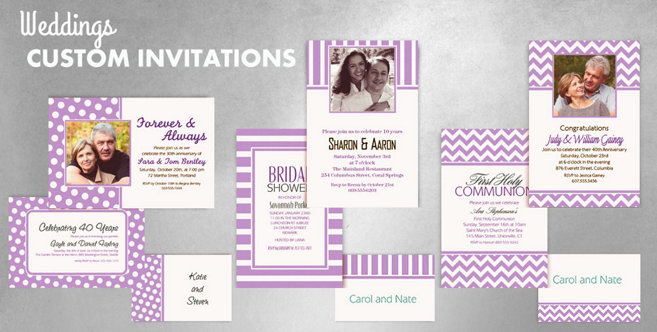 Lavender Wedding Custom Invitations and Banners #1