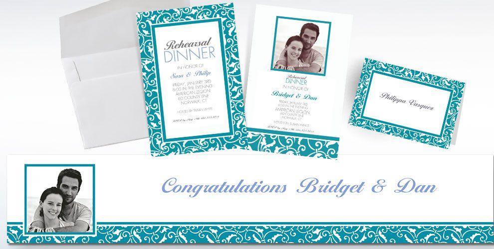 Caribbean Blue Custom Wedding Invitations & Banners