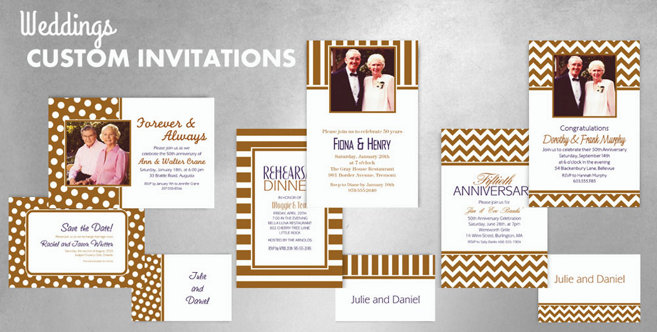 Gold Wedding Custom Invitations and Banners #1