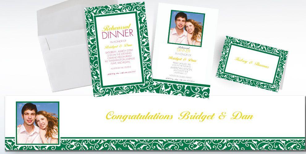 Festive Green Custom Wedding Invitations & Banners