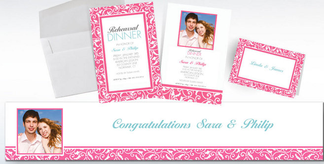 Bright Pink Wedding Custom Invitations and Banners #2