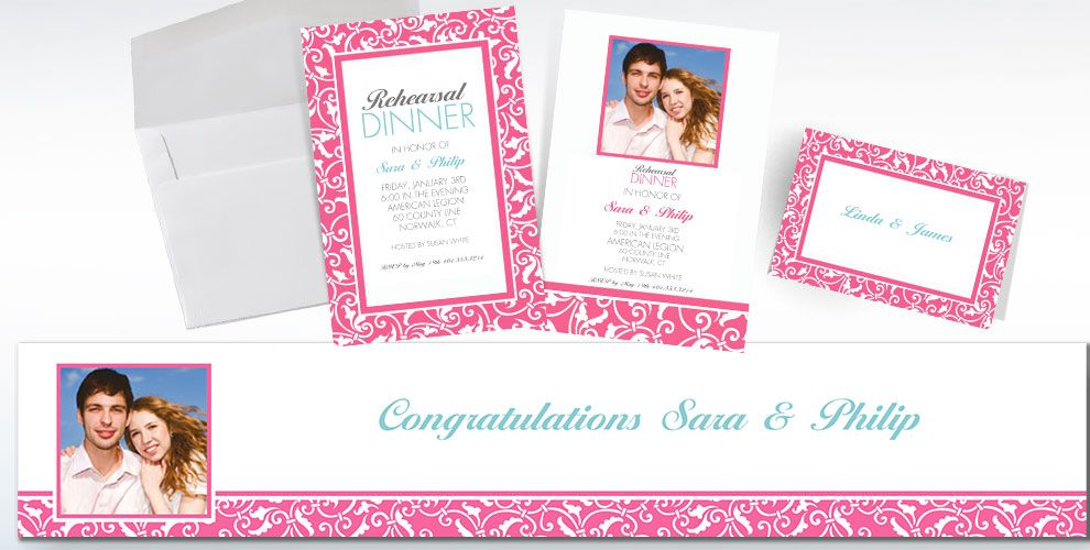 Bright Pink Custom Wedding Invitations & Banners