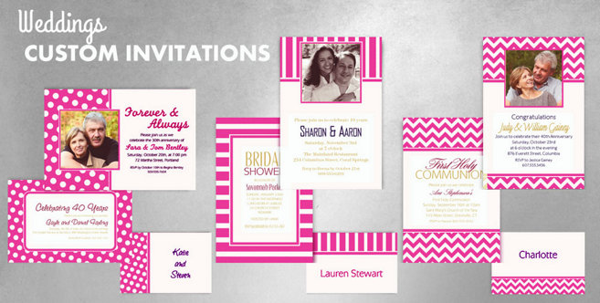 Bright Pink Wedding Custom Invitations and Banners #1