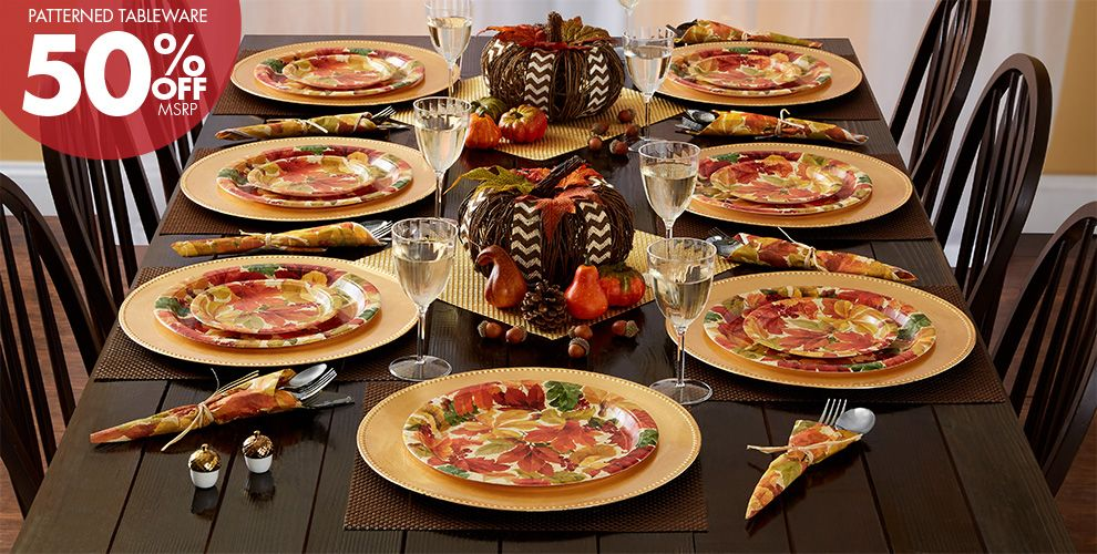Patterned Tableware 50% off MSRP — Elegant Autumn Leaves Fall Party Supplies
