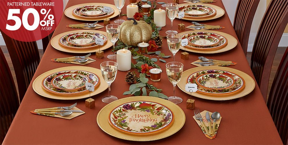 Patterned Tableware 50% off MSRP — Thanksgiving Medley Party Supplies