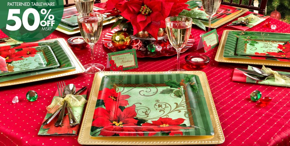 Vintage Poinsettia Party Supplies #1