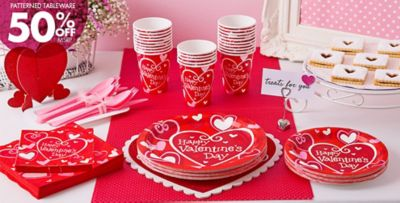 Be Mine Valentineu0027s Day Party Supplies 50% Off Patterned Tableware MSRP
