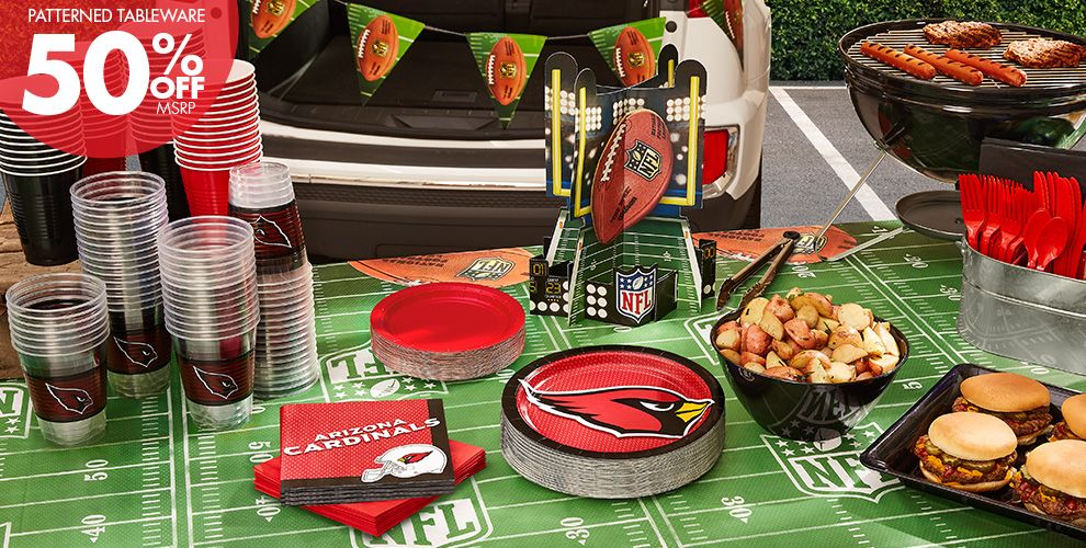 NFL Arizona Cardinals Party Supplies - 50% Off Patterned Tableware MSRP