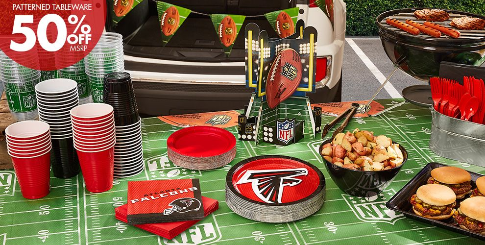 NFL Atlanta Falcons Party Supplies - 50% Off Patterned Tableware MSRP