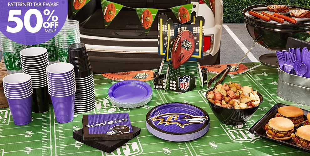 NFL Baltimore Ravens Party Supplies – 50% off Patterned Tableware MSRP