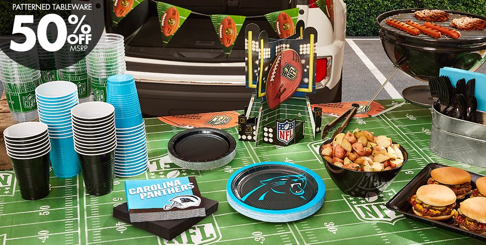 Patterned Tableware 50%off MSRP — NFL Carolina Panthers Party Supplies