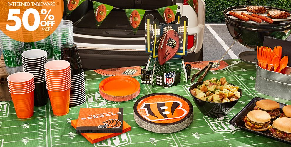 NFL Cincinnati Bengals Party Supplies – 50% off Patterned Tableware MSRP