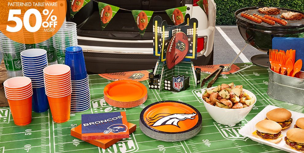 NFL Denver Broncos Party Supplies - 50% Off Patterned Tableware MSRP