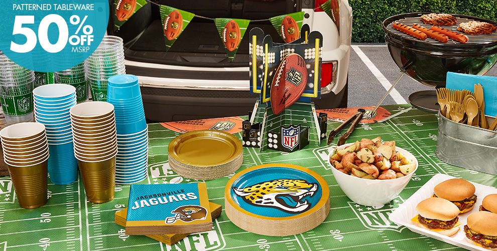 NFL Jacksonville Jaguars Party Supplies – 50% off Patterned Tableware MSRP