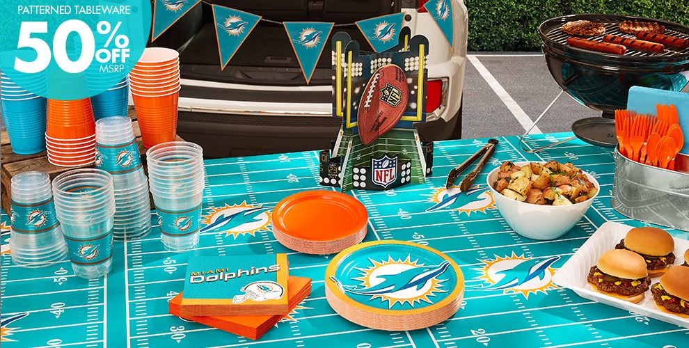 NFL Miami Dolphins Party Supplies – 50% off Patterned Tableware MSRP