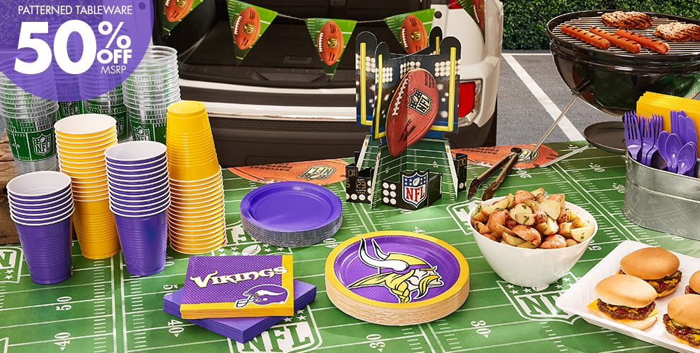 NFL Minnesota Vikings Party Supplies - 50% Off Patterned Tableware MSRP