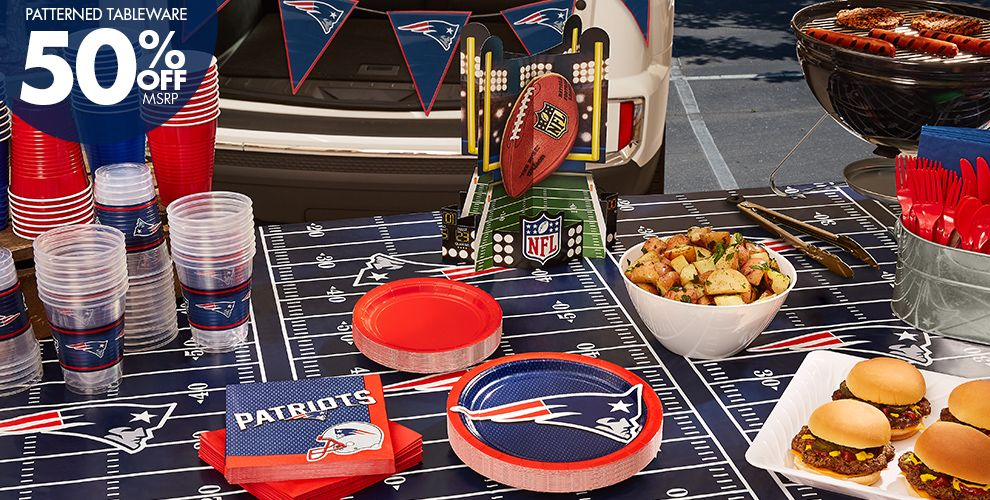 NFL New England Patriots Party Supplies – 50% off Patterned Tableware MSRP