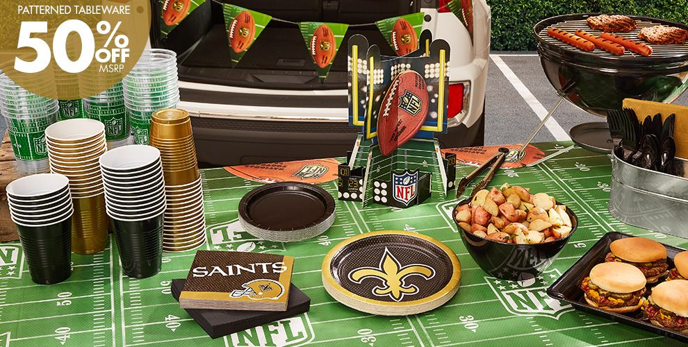 50% Off MSRP Patterned Tableware — NFL New Orleans Saints Party Supplies