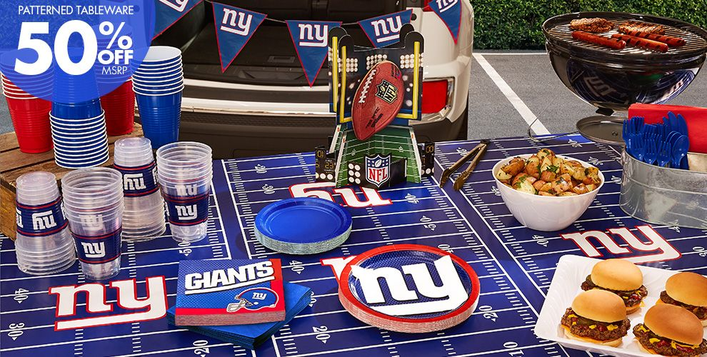 50% Off MSRP Patterned Tableware — NFL New York Giants Party Supplies