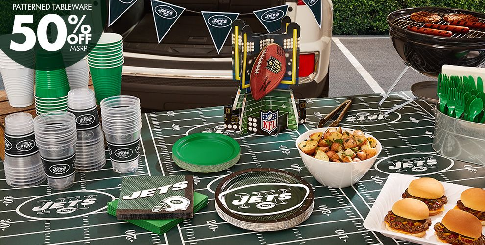 50% Off MSRP Patterned Tableware — NFL New York Jets Party Supplies