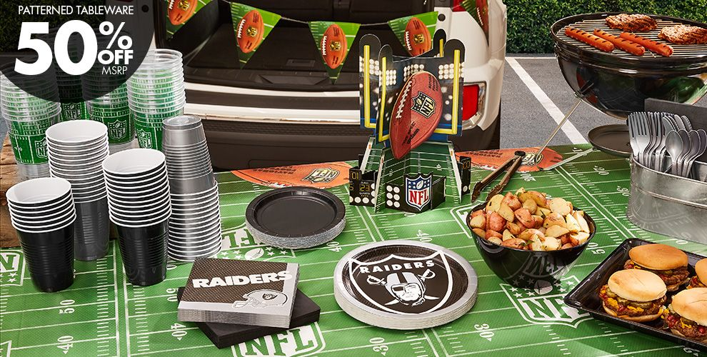 50% Off MSRP Patterned Tableware — NFL Oakland Raiders Party Supplies