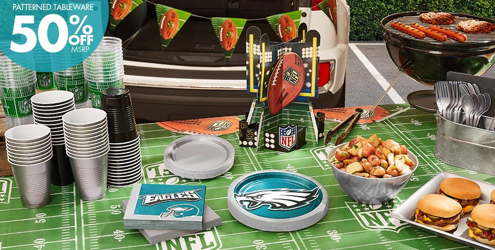 50% Off MSRP Patterned Tableware — NFL Philadelphia Eagles Party Supplies