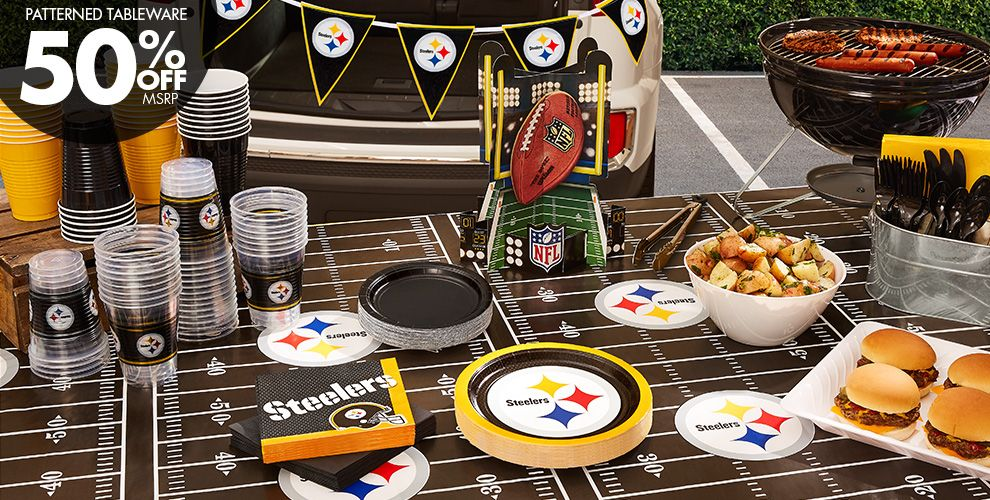 50% Off MSRP Patterned Tableware — NFL Pittsburgh Steelers Party Supplies
