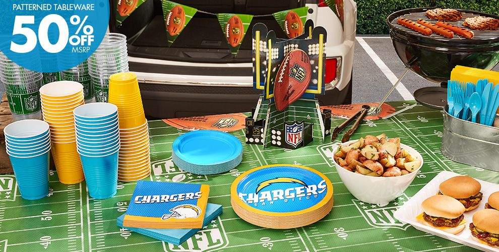 50% Off MSRP Patterned Tableware — NFL San Diego Chargers Party Supplies