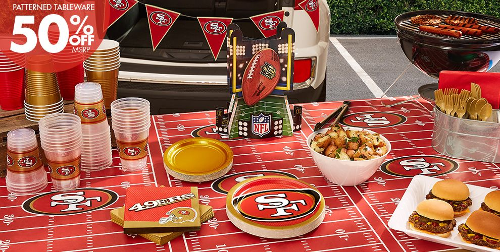 50% Off MSRP Patterned Tableware — NFL San Francisco 49ers Party Supplies