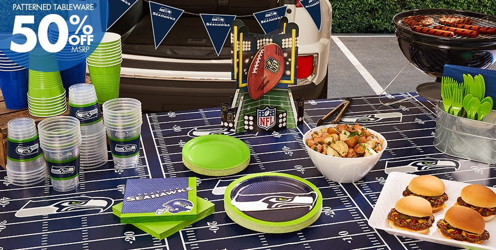 50% Off MSRP Patterned Tableware — NFL Seattle Seahawks Party Supplies