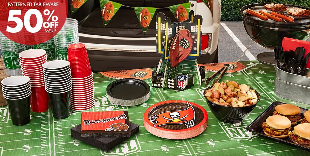 50% Off MSRP Patterned Tableware — NFL Tampa Bay Buccaneers Party Supplies