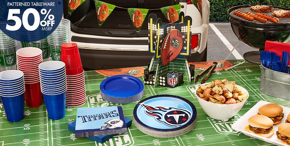 50% Off MSRP Patterned Tableware — NFL Tennessee Titans Party Supplies