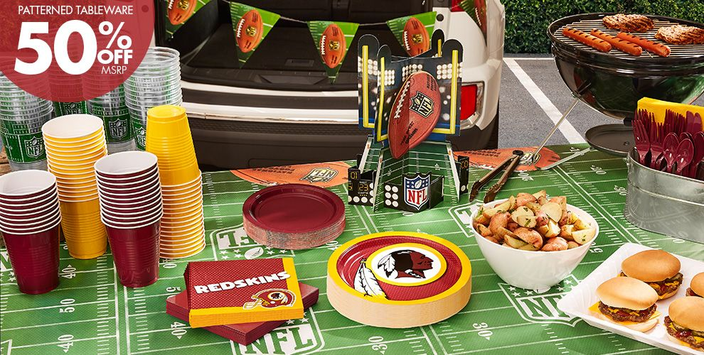 50% Off MSRP Patterned Tableware — NFL Washington Redskins Party Supplies