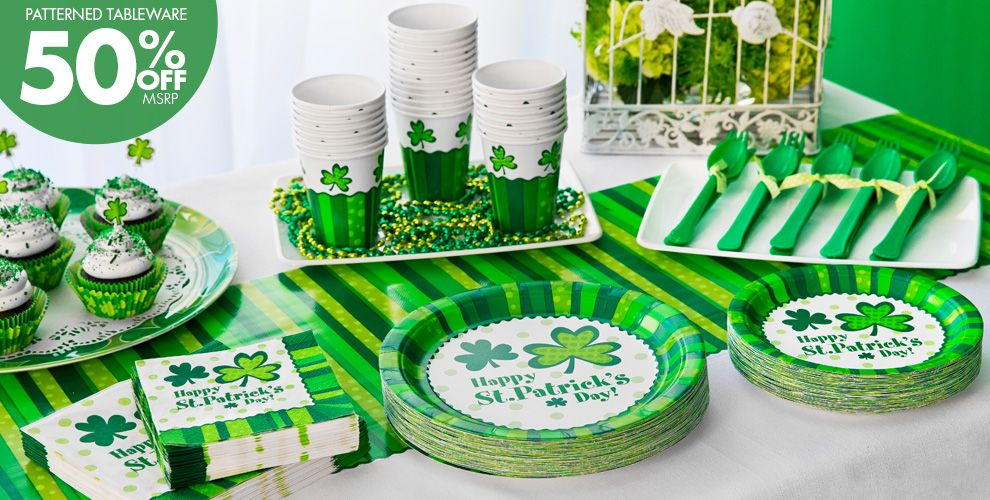St. Patrick's Day Cheer Party Supplies - 50% off Patterned Tableware MSRP