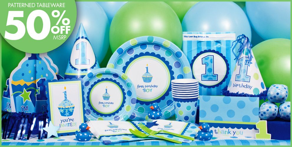 Sweet Little Cupcake Boy Party Supplies