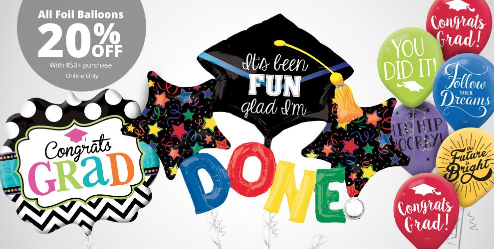 Colorful Brights Graduation Balloons – All Foil Balloons 20% off with $50+ purchase Online Only