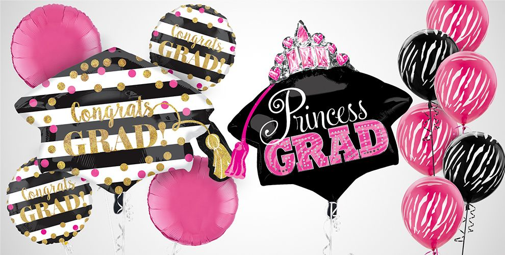 Pink and Black Graduation Balloons