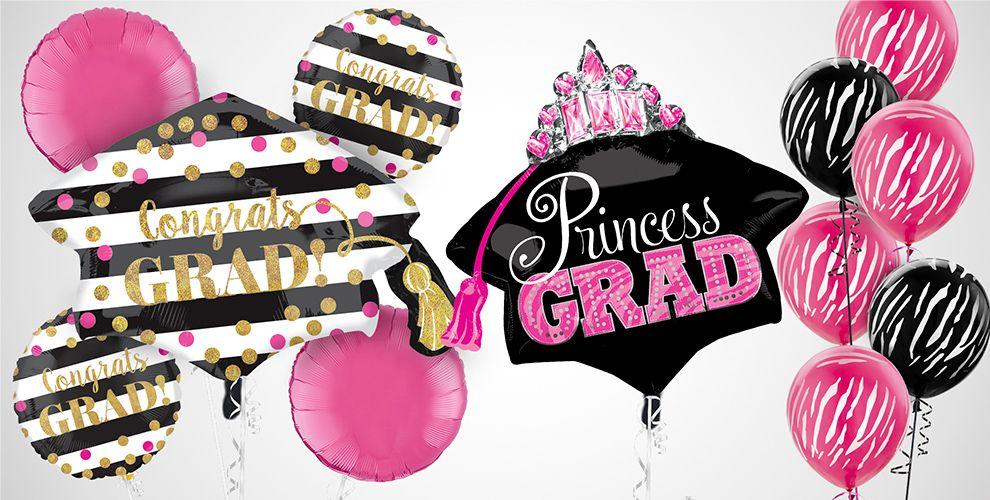 Pink & Black Graduation Balloons