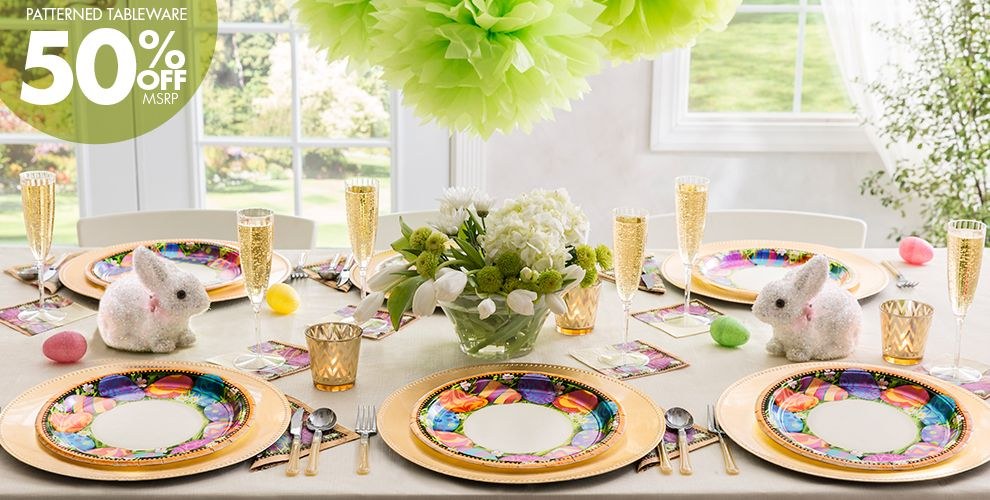 Easter Elegance Party Supplies 50% off Patterned Tableware MSRP
