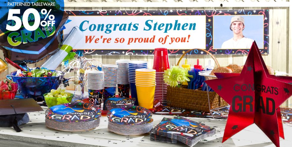 Patterned Tableware 50% off MSRP — Grad Celebration Graduation Party Supplies