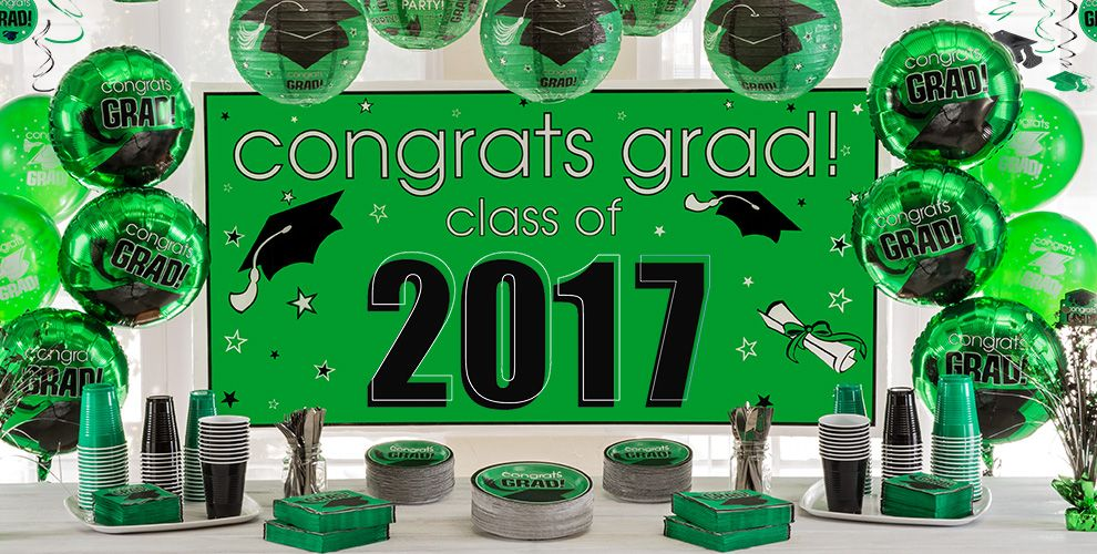 Congrats grad green graduation party supplies city