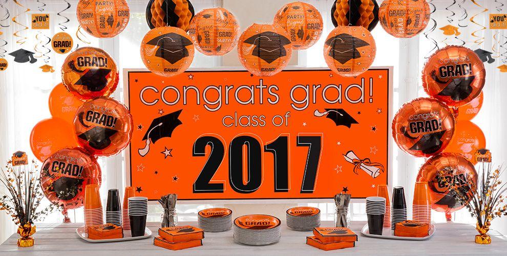 Orange Congrats Grad Graduation Party Supplies — Congrats Grad 2017