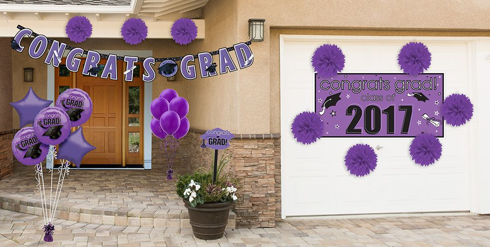 Purple Congrats Grad Graduation Decorations