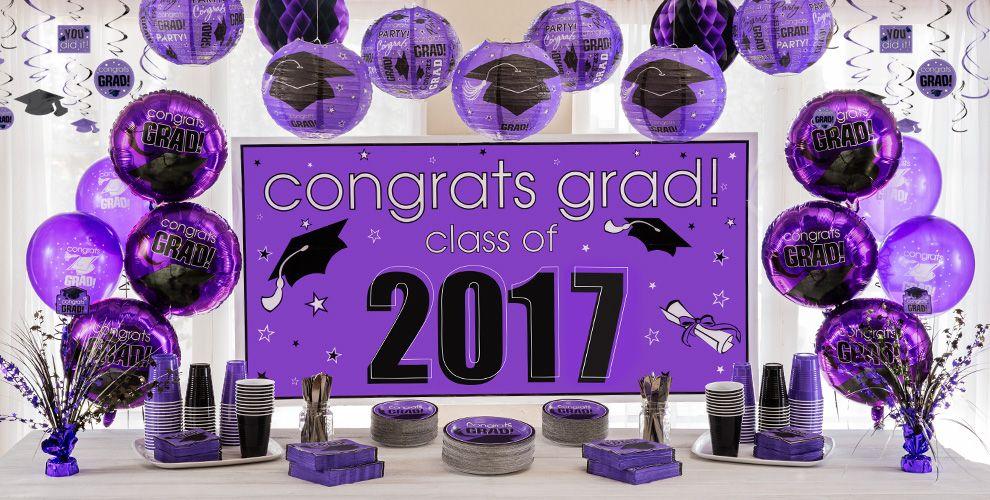 Purple Congrats Grad Graduation Party Supplies