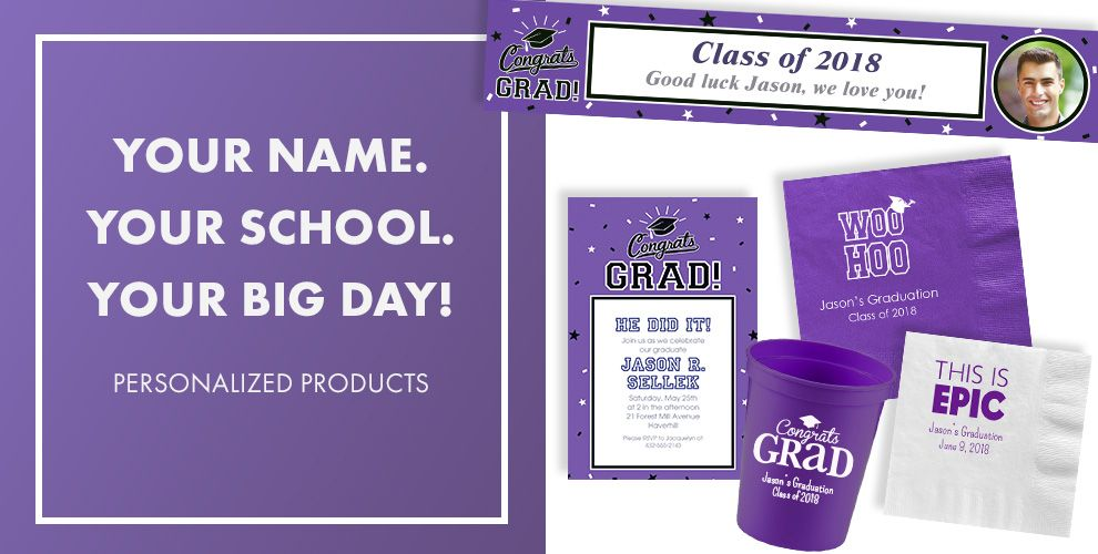 Congrats Grad Purple Graduation Party Supplies
