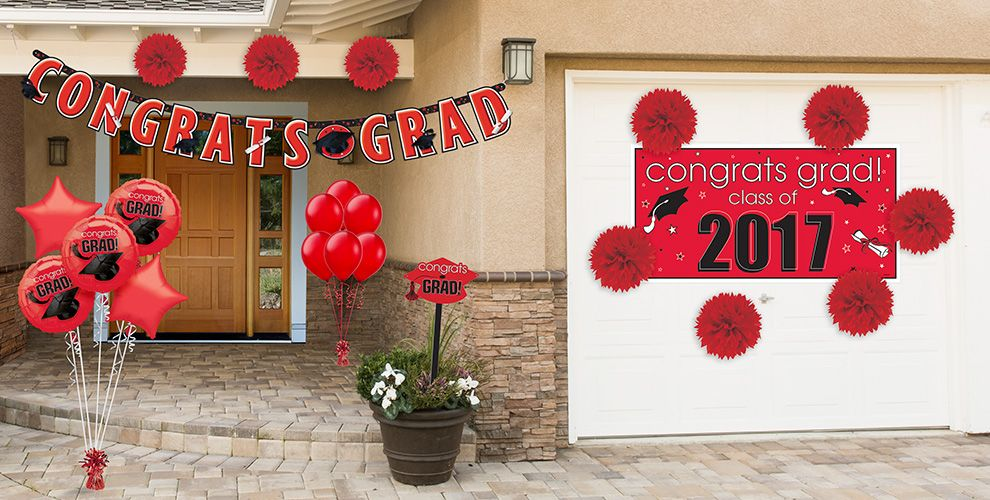 Congrats Grad Red Graduation Decorations
